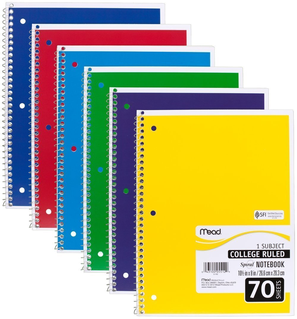 Mead 05512 Spiral Notebook, College Ruled 7.5'' x 10.5'' 70 Sheets, 1 Subject, 6 Pack, Colors May vary