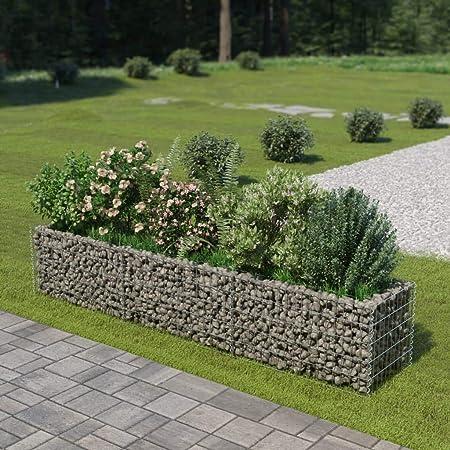 UnfadeMemory Jardinera Exterior,Gaviones de Piedra,Muro de Gaviones,Decorativos para Jardin Patio,Acero Galvanizado,Plateado (270x50x50cm): Amazon.es: Hogar