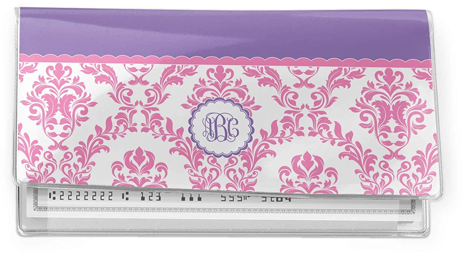 White /& Purple Damask Vinyl Checkbook Cover Pink Personalized