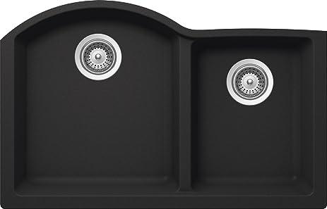 SCHOCK INPN175YU010 INSPIRE Series CRISTALITE 70/30 Undermount Double Bowl  Kitchen Sink, Onyx