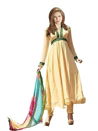 d5811435ab58 Suchi Women's Embroidered Yellow Pure Chiffon Anarkali Suit: Amazon ...