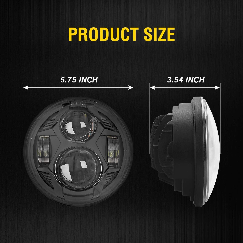 2020 Newest Black 51W 5-3//4 5.75 inch LED Headlight with EMC for Iron 883 Dyna Street Bob Super Wide Glide Low Rider Night Rod Train Softail Deuce Custom Sportster