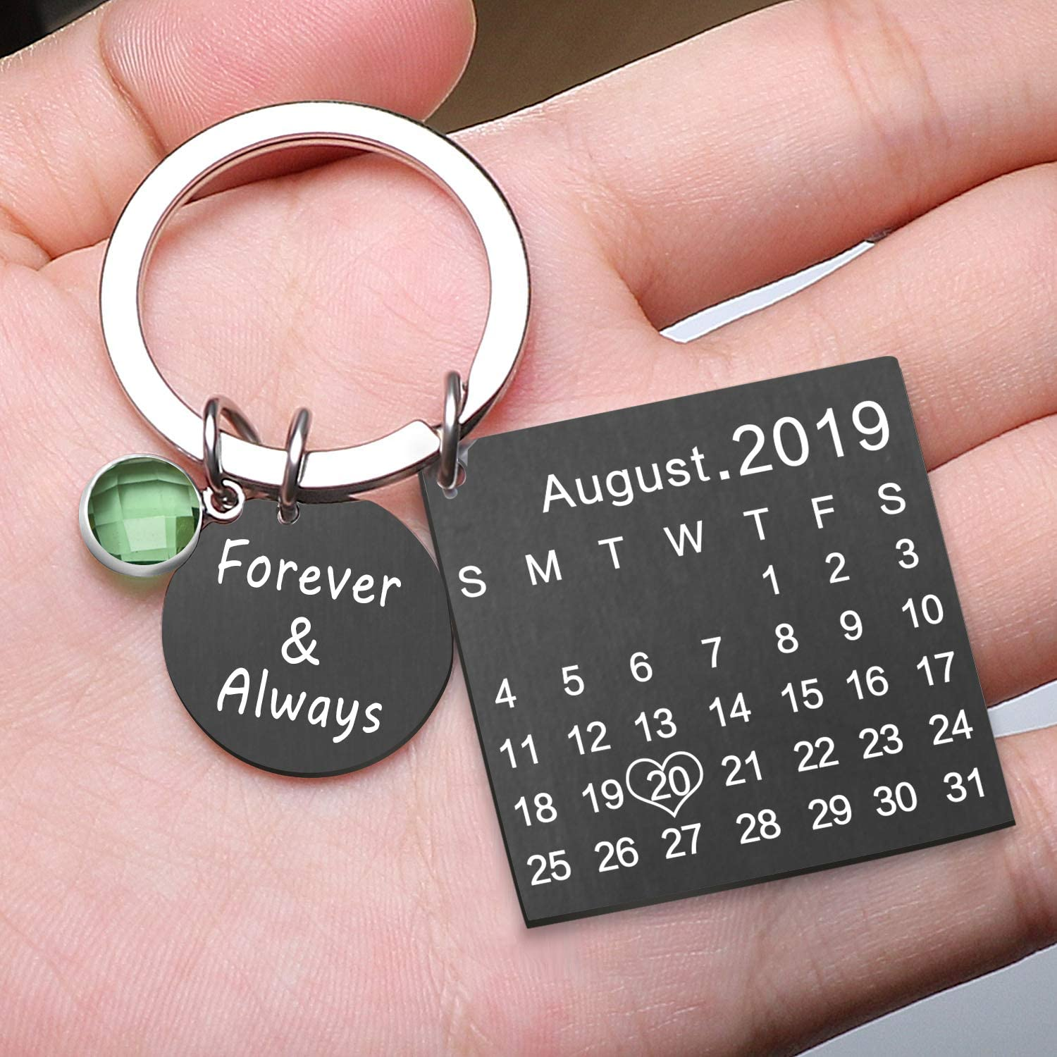 Black Engraving Custom Date Calendar Keychain Custom Date Pendant Key Ring for Lovers Couples Valentines Day Birthday Anniversary Special Day Gift