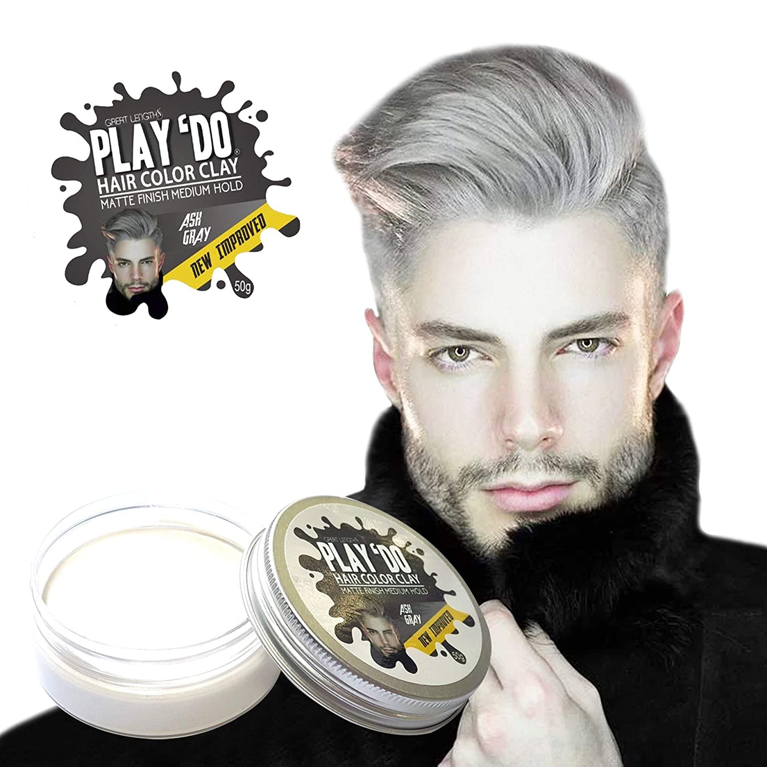 Amazon Com Play Do Temporary Hair Color Hair Wax Hair Clay Mens Grooming Gray Hair Pomade White Hair Dye 1 8 Ounces Beauty