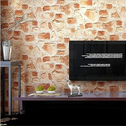 H&M Fondo de Pantalla Papel pintado PVC Retro 3D Imitación Textura de piedra Papel pintado Dormitorio