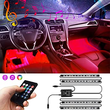4pcs 48 LED Waterproof Under dash Lighting Kits with Sound Active and App Controlled Car led Lights Interior with USB Port CHDZKEDI Interior Car Lights Car LED Strip Light Upgrade controller Design