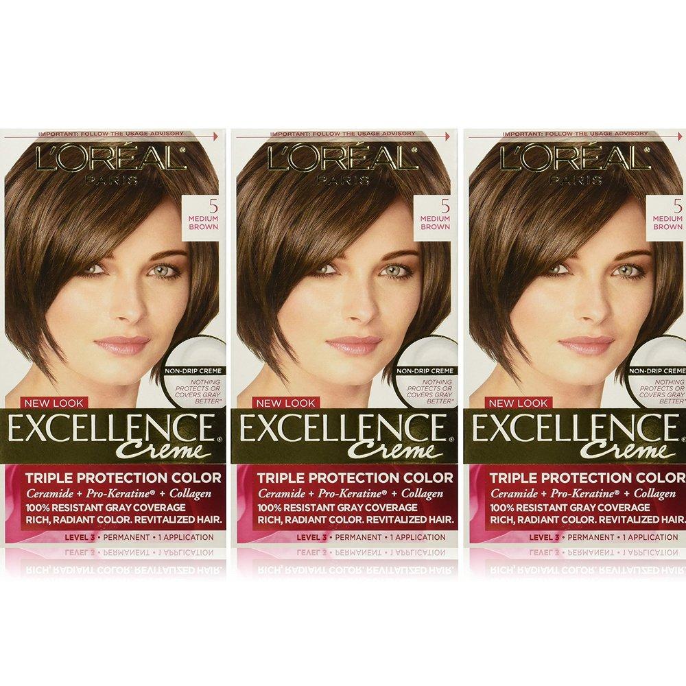 L'Oreal Paris Excellence Creme Permanent Hair Color, 5 Medium Brown (Pack of 3) by L'Oreal Paris
