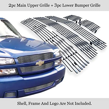 Fits 2003-2006 Chevy Silverado SS 1500 Stainless Steel Bumper Billet Grille