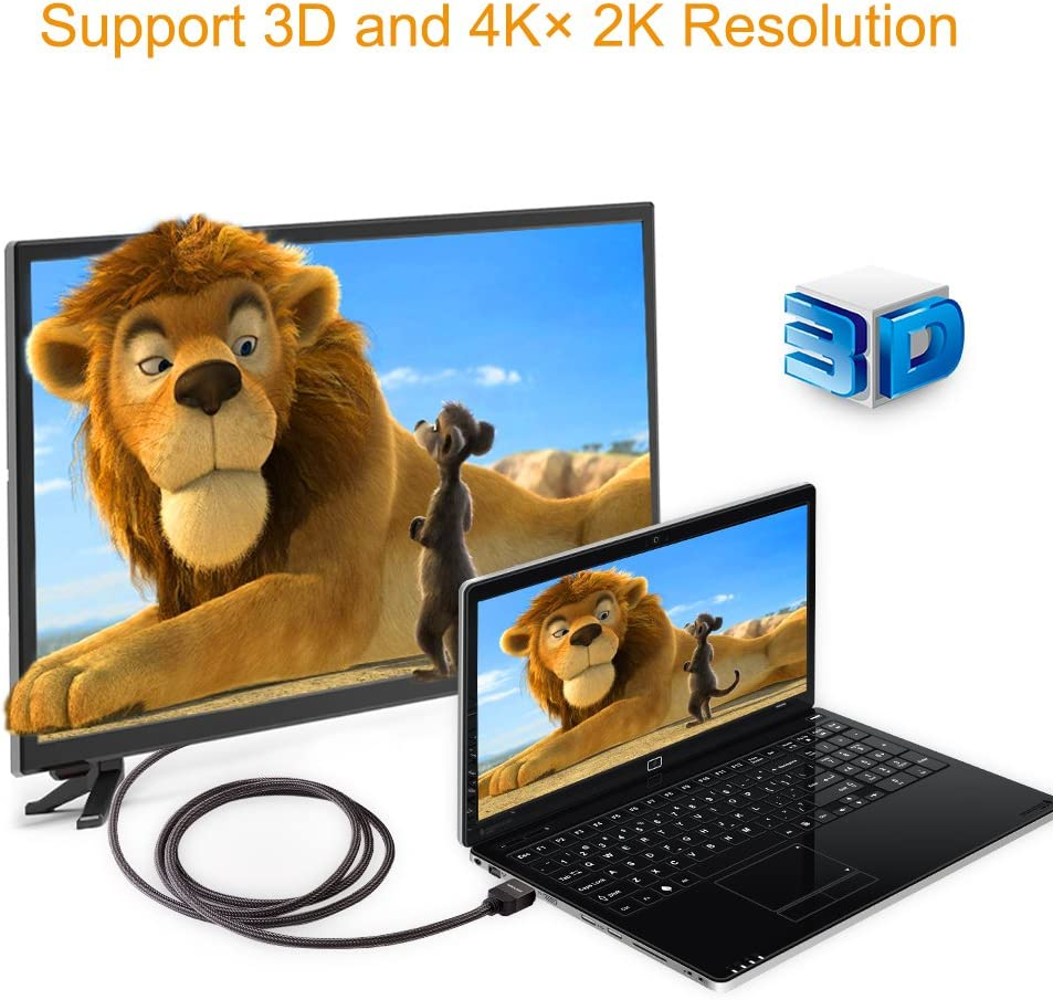 PS4 High Speed 18Gbps HDMI 2.0 Braided Cable Supports 4K@60Hz 3D HDCP 2.2 ARC- Compatible UHD TV PC Roku X-Box WAVLINK 4K HDMI Cable 6 Ft Blu-ray