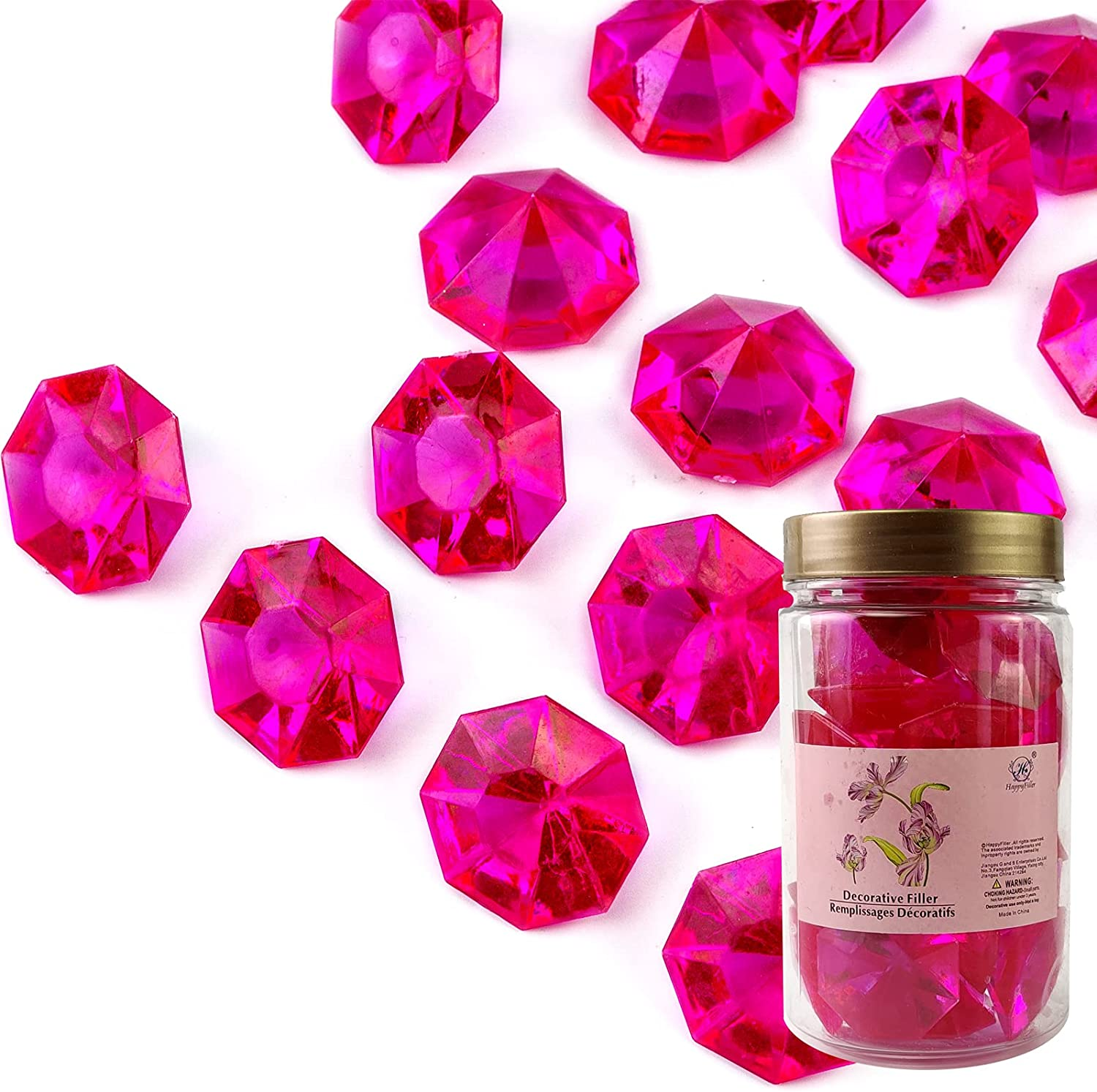 HappyFiller Hot Pink Crystal Treasure Gem Stones Fake Acrylic Diamonds 30 mm Wedding Decorations for Table Reception,Arts Crafts,Vase Fillers,Confetti,Bridal Shower Favors,Approx.30 pcs