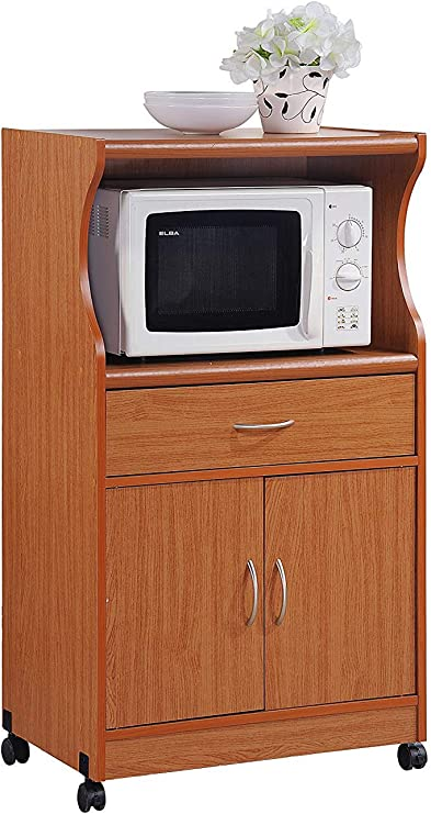 Amazon Com Microwave Cart With Storage Doors Drawer Kitchen Rolling Portable Cabinet Wood Unit Cherry Kitchen Dining