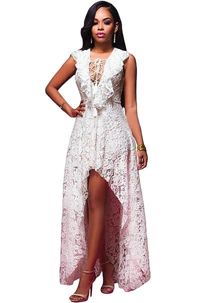 Firstmall Las Mujeres Maxi Vestido Lace Top Fiesta de la noche Baile Vestido Blanco: Amazon.es: Ropa y accesorios