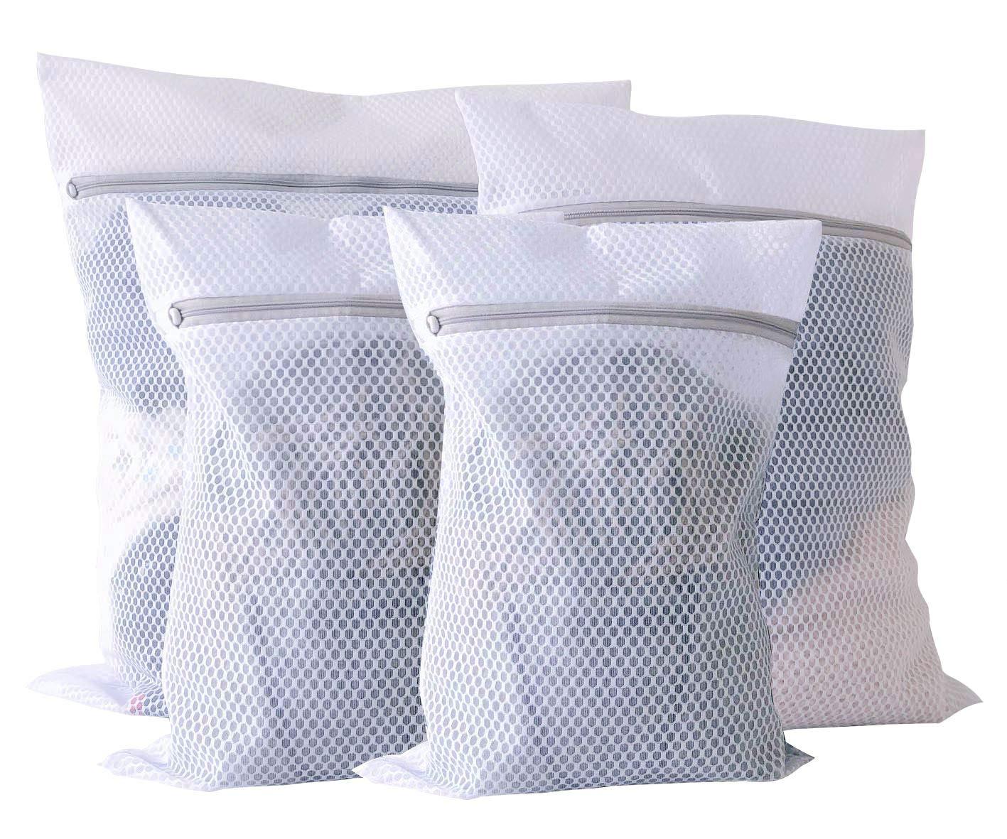 YouJia Extra Large Mesh Laundry Bag, Heavy Duty Pack of 4 Zippered Polyester Washing Bag, Washer and Dryer Safe Lingerie Laundry Bag for Clothes, Bed Sheet, Toys, Travel