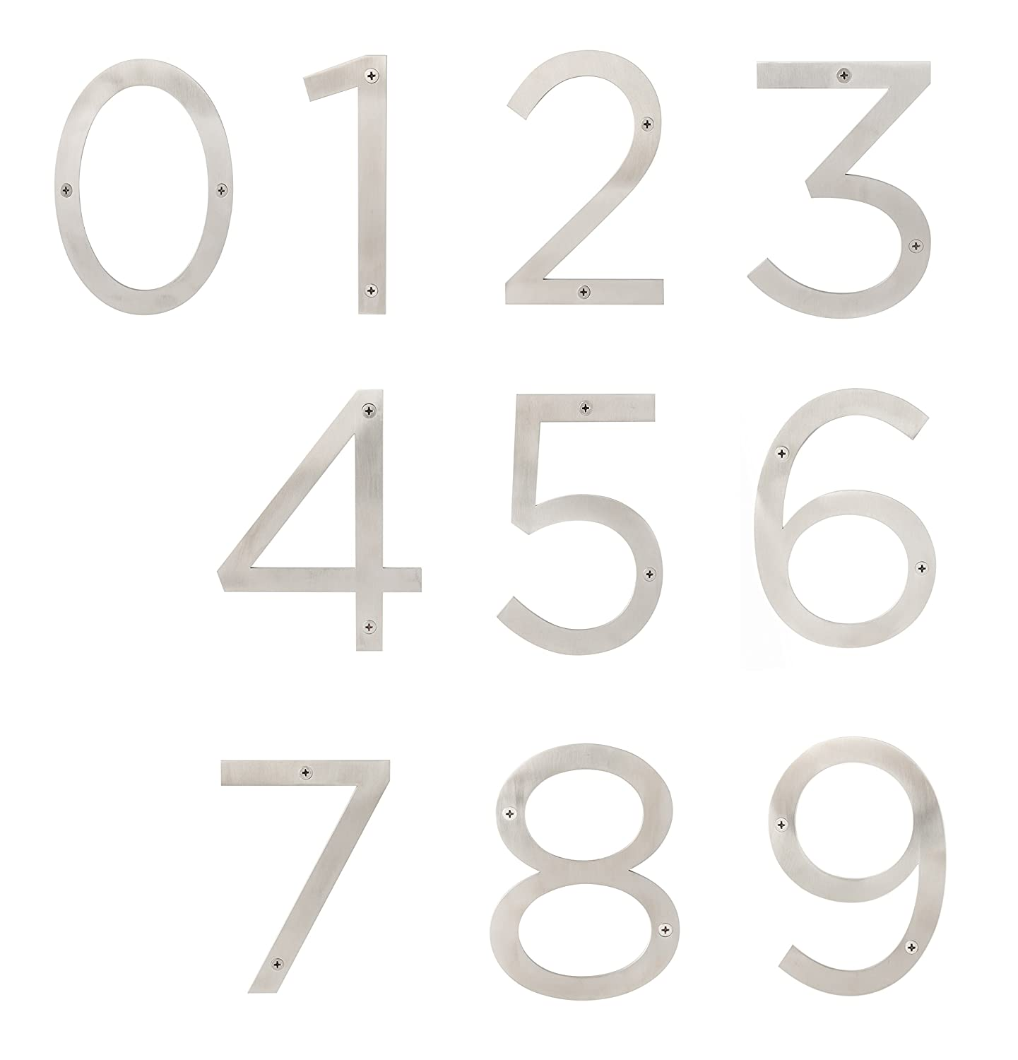 Sure-Loc Hardware HNSS6-0 SS Modern Stainless Steel House Numbers, 6, Satin Stainless 6