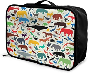 Emvency Travel Portable Foldable Duffel Bag Wild Life Animal Silhouettes Retro Lightweight Waterproof Storage Carry Luggage Tote Bag for Women Men