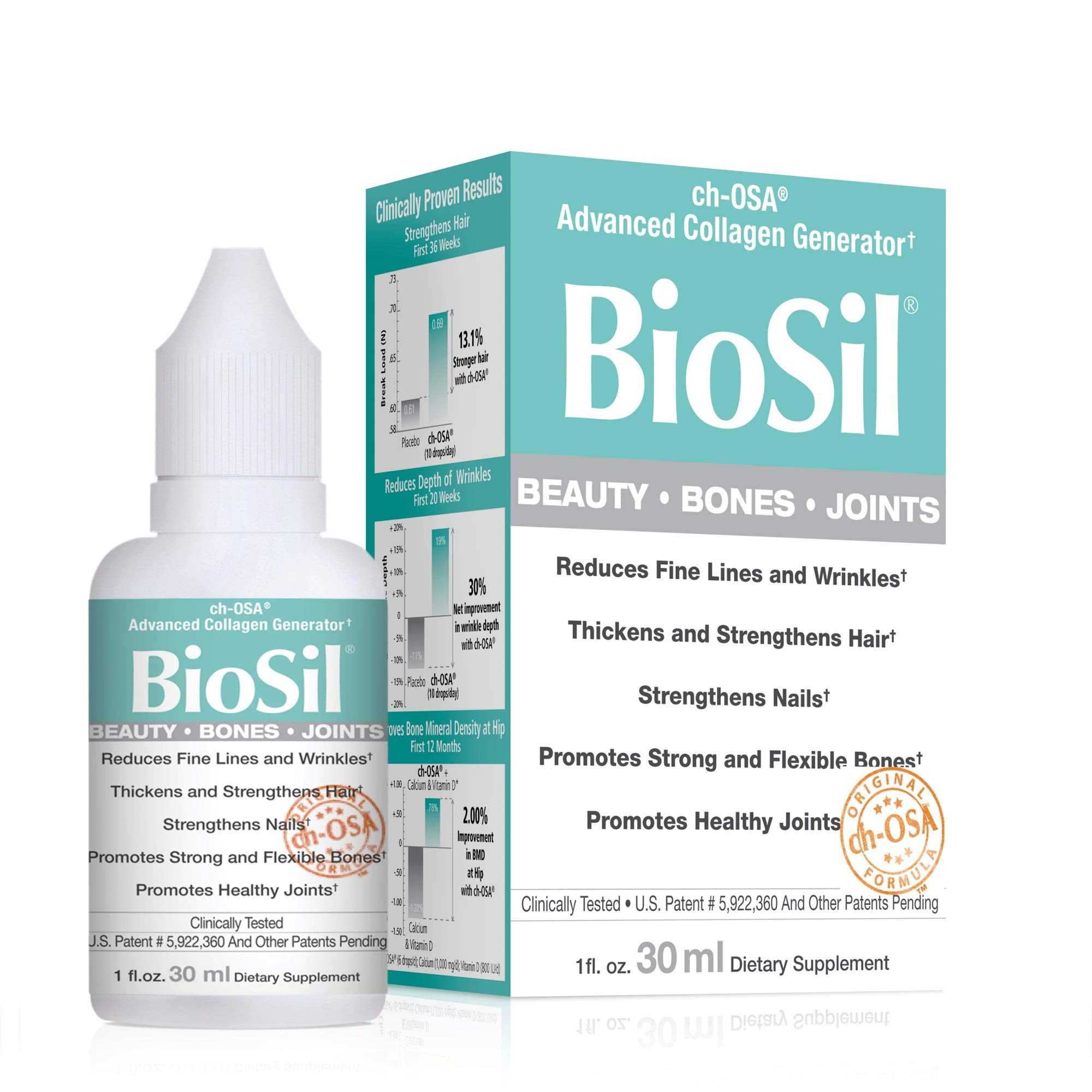 BioSil - Beauty, Bones, & Joints Liquid, Advanced Collagen Generator for Strong Hair + Nails and Healthy Skin + Joints, 120 Servings (1 oz)