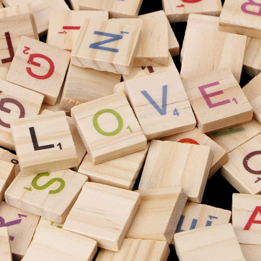 100Pcs/Set Wooden Alphabet Block Scrabble Tiles Colorful Letters For Crafts Wood Alphabet Toy: Amazon.es: Hogar