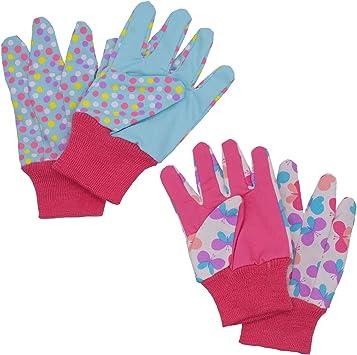 Guantes de jardinería para niños de 5 a 6 años, de 7 a 8 años, 2 pares de guantes de jardín para niñas y niños, diseño de puntos y mariposas y mariquita: