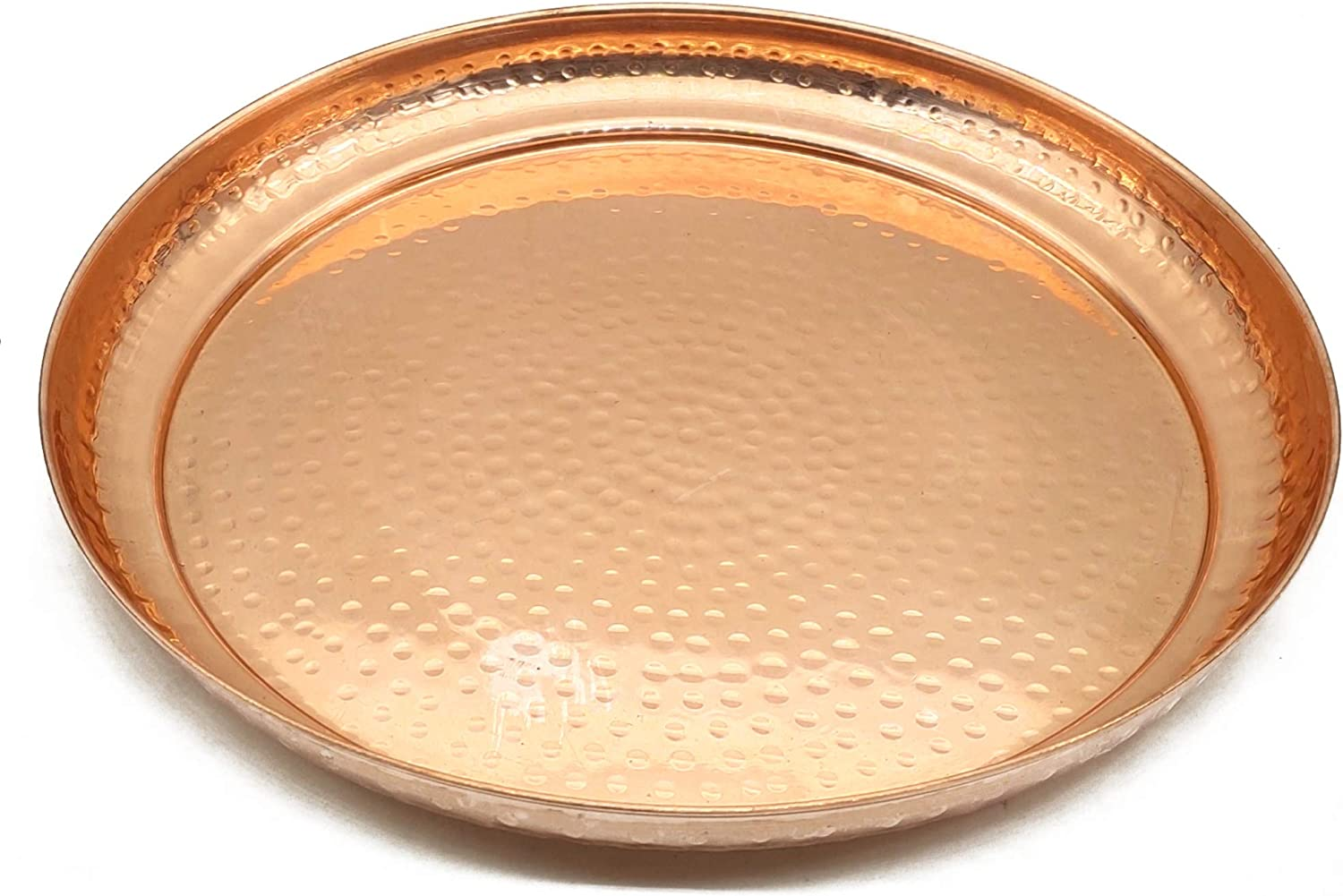 Large Contemporary Hammered Edge Pure Copper Circular Serving Party Tray- 13 Inch Round Charger Platter Serving Dish
