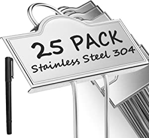 Metal Plant Labels for Garden | Plant Markers Tags for Vegetables Herb Seedlings Flowers with a Pen | 25 Pack | Label Area 3.74'' x 1.39'' Height 10.75 Inch