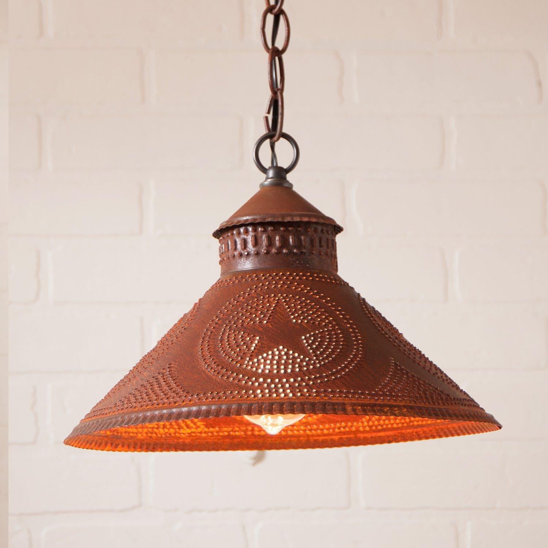 Stockbridge Shade Light with Regular Star in Rustic Tin