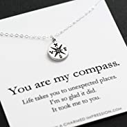 You are my Compass • I'd be Lost Without You • Personalized Sterling Silver Charm Necklace • Unique Handcrafted Gift for Wife/Girlfriend/Best Friend