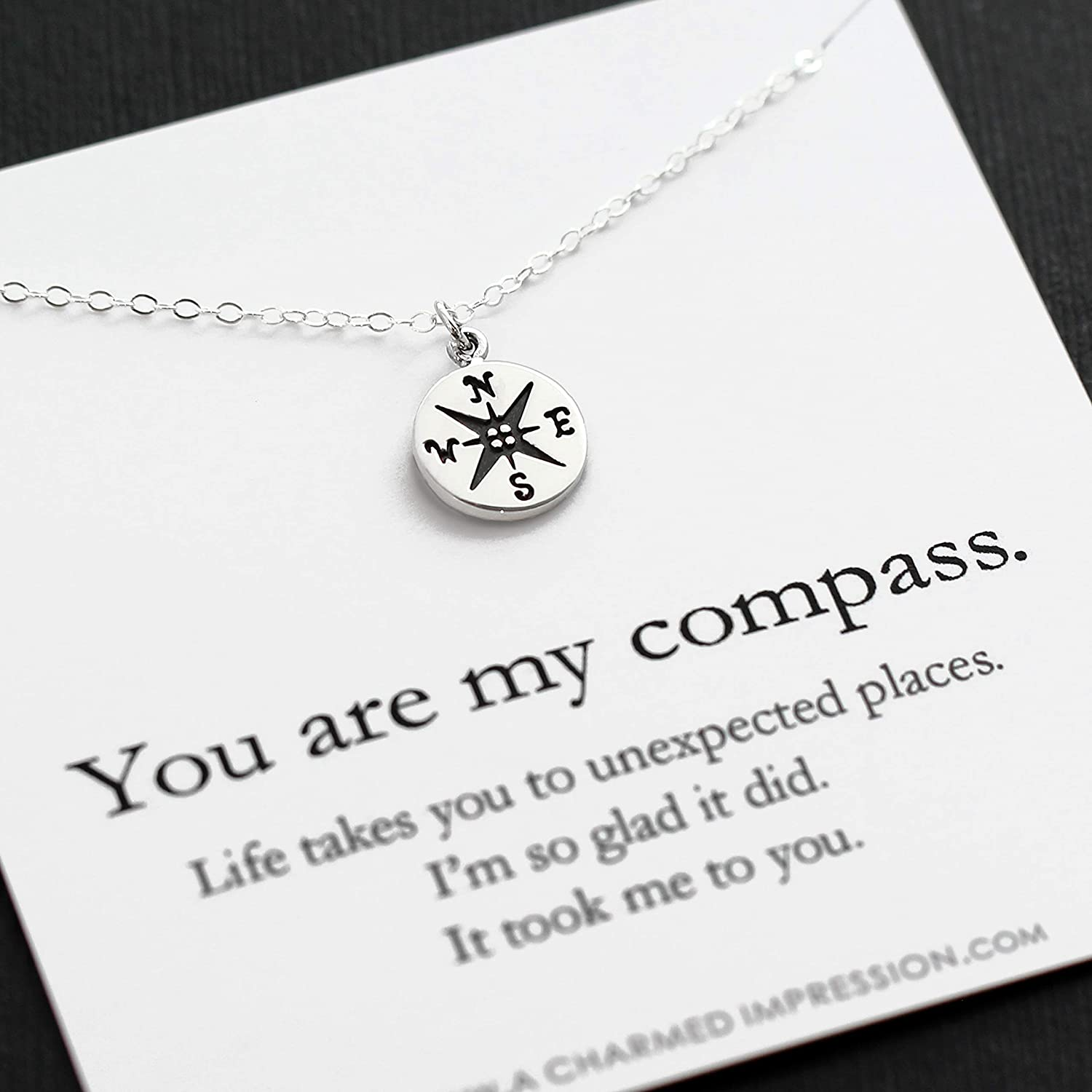 Gift For Wife Girlfriend Best Friend You Are My Compass I D Be Lost Without You Personalized Sterling Silver Charm Necklace Handmade Handcrafted Anniversary Birthday Christmas Handmade
