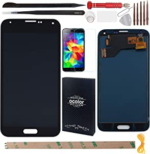 YHX-US Replacement LCD Display for Samsung Galaxy S5 I9600 SM-G900 Digitizer Screen and Touch Screen with 1 Screen Protector +A Set of Tools (Black)