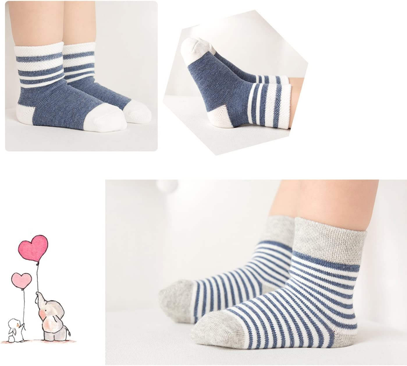 Caudblor Infant Toddler Ankle Crew Stripe Socks with Multi Size Blue Baby Boys Girls Cotton Socks L
