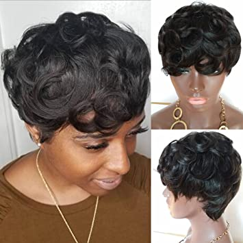 Amazon Com 100 Human Hair Wig Short Pixie Cut Brazilian Hair None