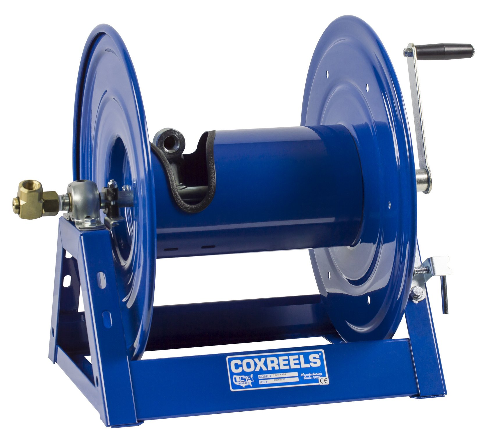 Coxreels 1125-4-100 Steel Hand Crank Hose Reel, 1/2'' Hose I.D., 100' Hose Capacity, 3,000 PSI, without Hose, Made in USA