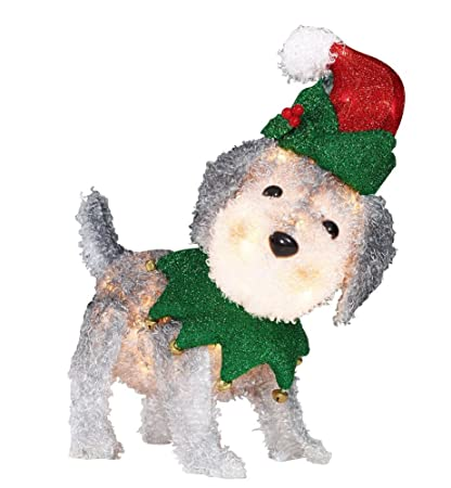 holiday time light up fluffy schnauzer dog christmas yard decoration indoor outdoor - Outdoor Dog Christmas Decorations