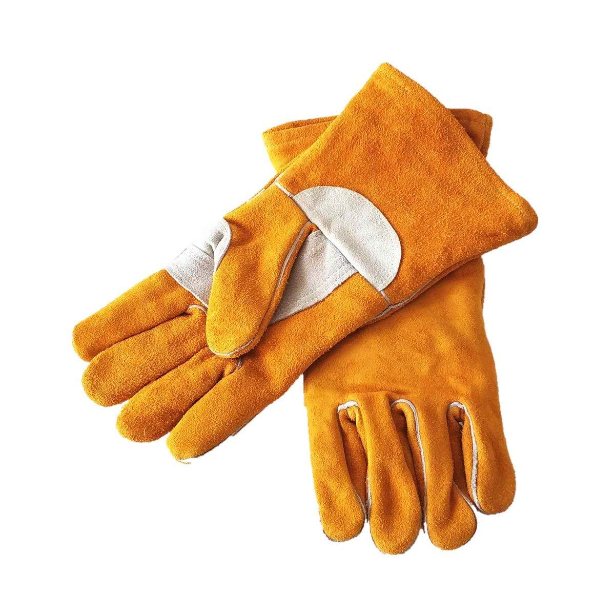 Guantes de soldadura de 35 cm de piel de vaca para soldador de pulgar y palma reforzados con certificado CE Golden MIG/Stick: Amazon.es: Bricolaje y ...