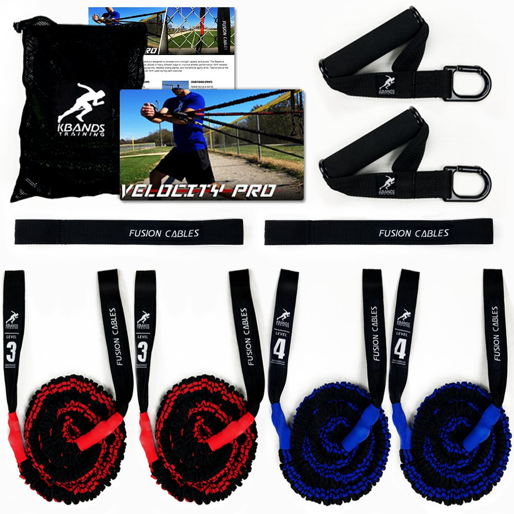 Kbands Fusion Cables Velocity Trainer (Baseball - Softball Resistance Arm Bands for Strength and Velocity) (Int/Adv 14 Years or Older) by Kbands Training