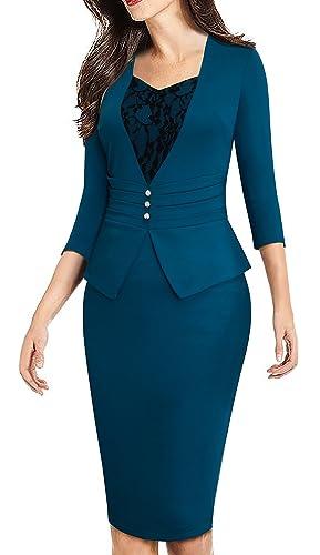 HOMEYEE Women's Elegant Business 3/4 Sleeve Lace Retro Pencil Sheath Dress B361