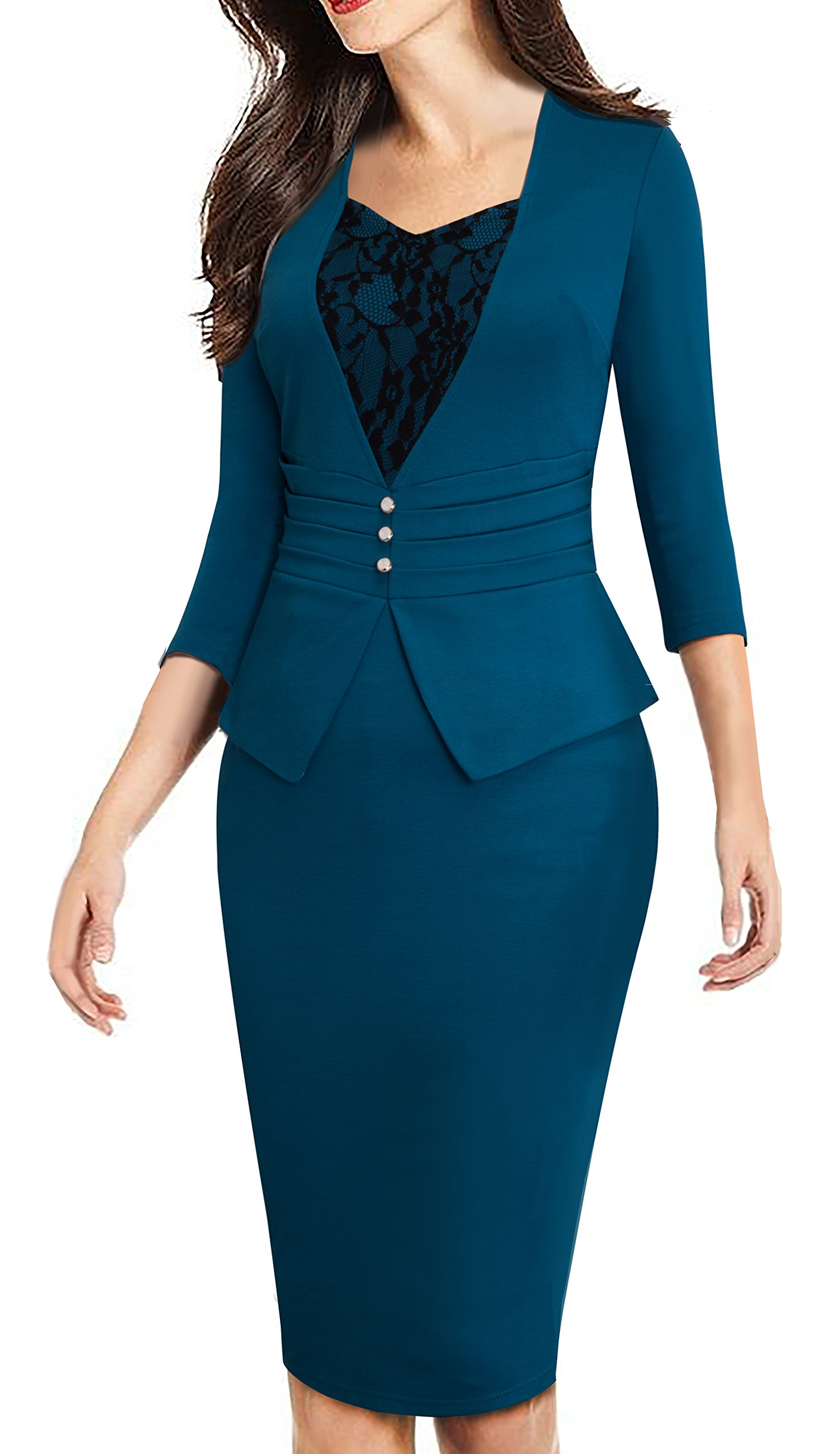HOMEYEE Women's Elegant Business 3/4 Sleeve Lace Retro Pencil Sheath Dress B361 (8, Teal)