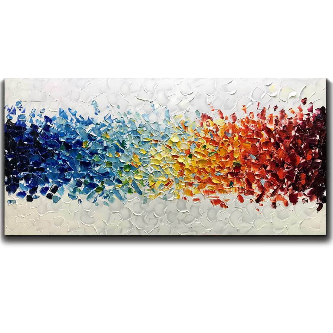 Amei Art Paintings,24X48 Inch 3D Hand-Painted On Canvas Colorful White Background Abstract Oil Painting Contemporary Artwork Simple Modern Home Decor Wall Art Wood Inside Framed Ready to Hang