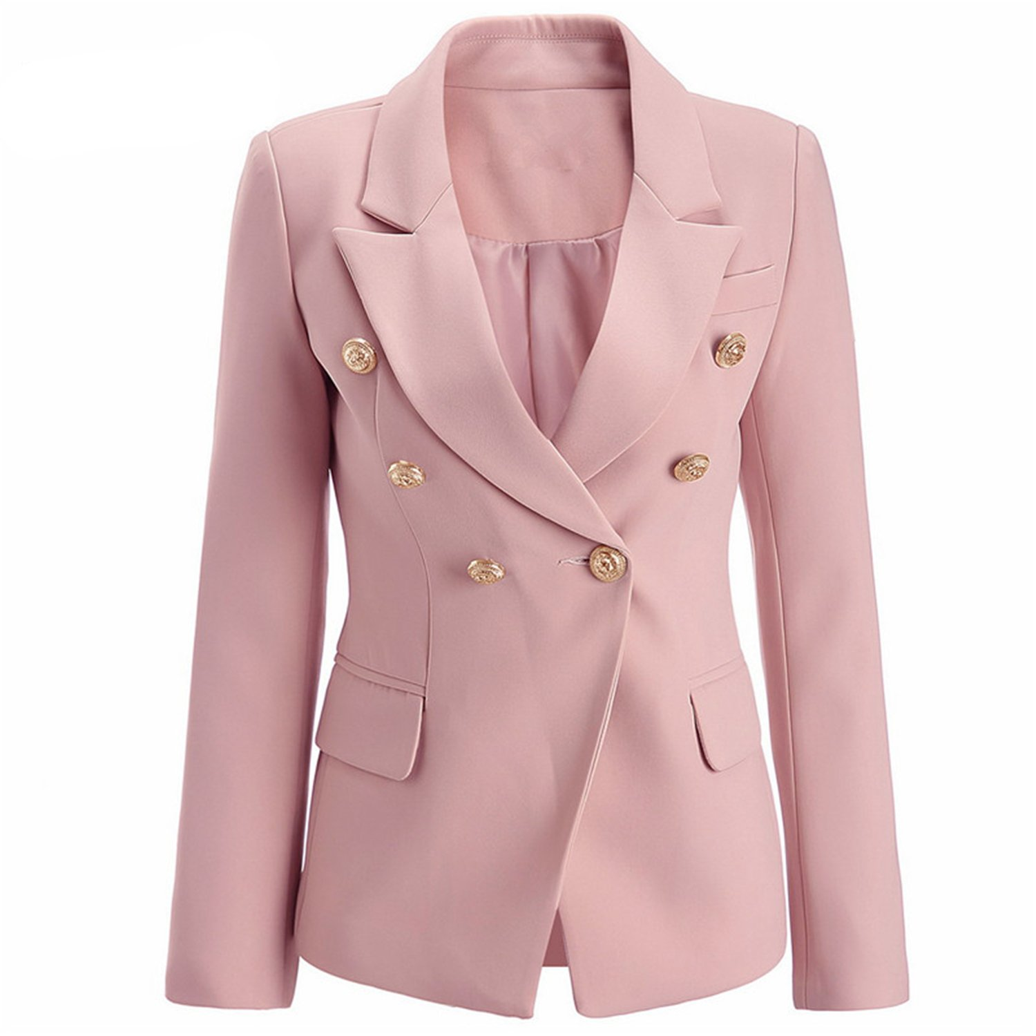 c893d1b26143 Saneoo Pale Pink Blazer Wear to Work Office Lady Tops Clothing Fall Women  New Button Design Blasers Spring Fashion Coat at Amazon Women's Clothing  store: