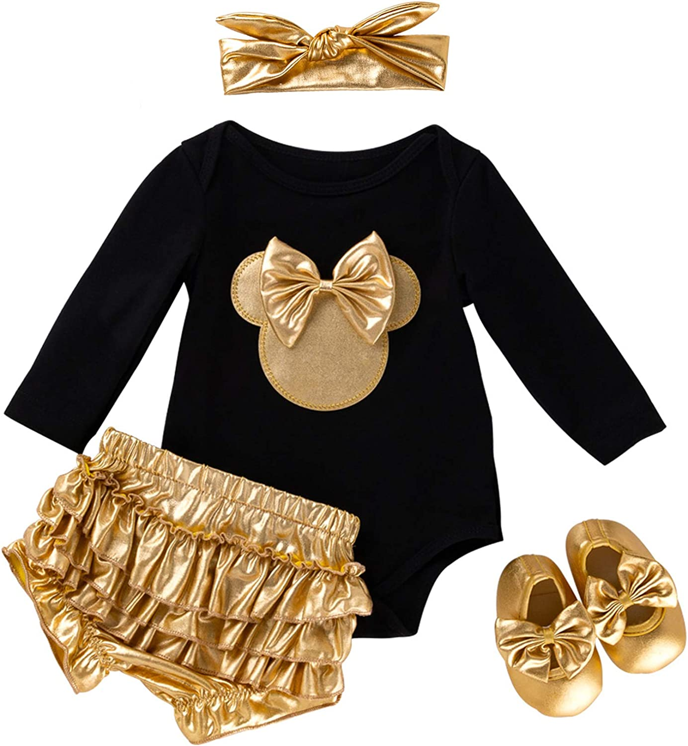 Cotrio Newborn Baby Girls Outfits Infant Floral Romper Clothes Bloomer Shorts
