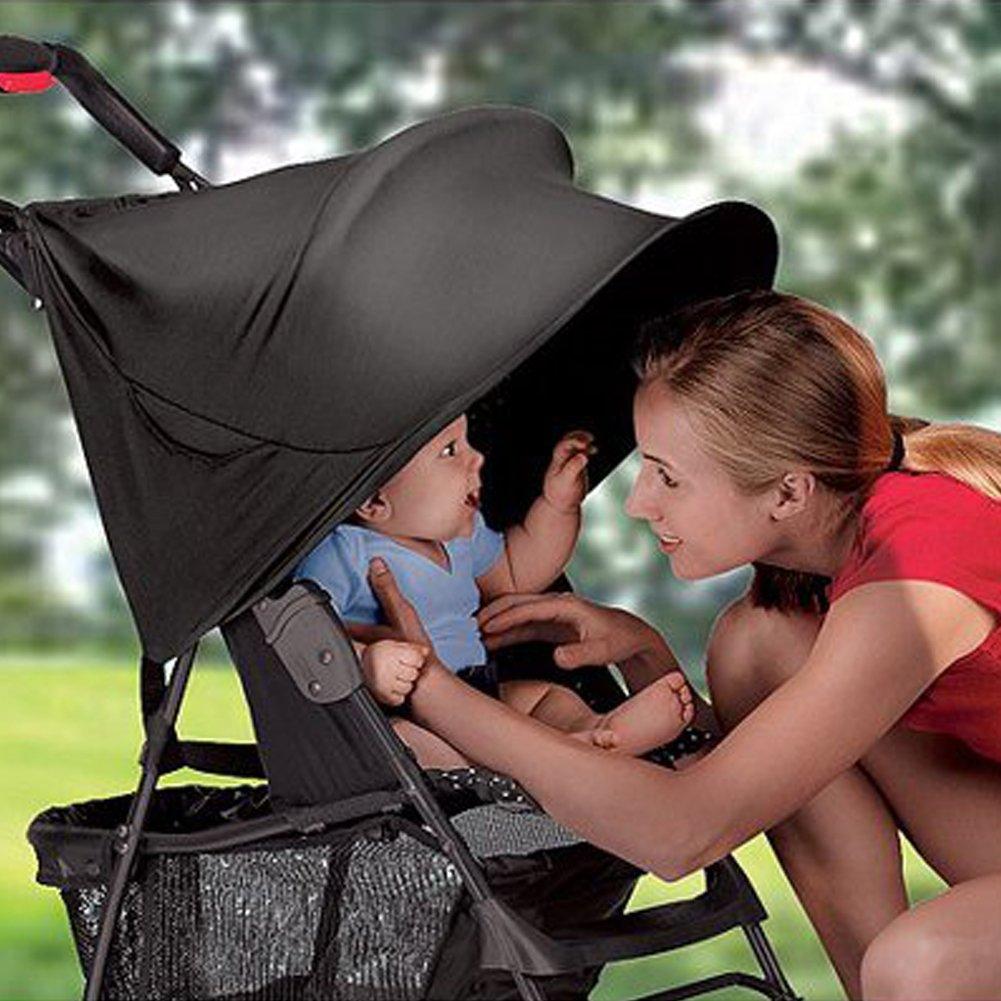 LeRan Pare-soleil universel pour poussette de bébé Enfants Pliable Carriage Seat Landau Imperméable à l'eau Protection solaire, Prévenir les enfants des rayons UV, noir