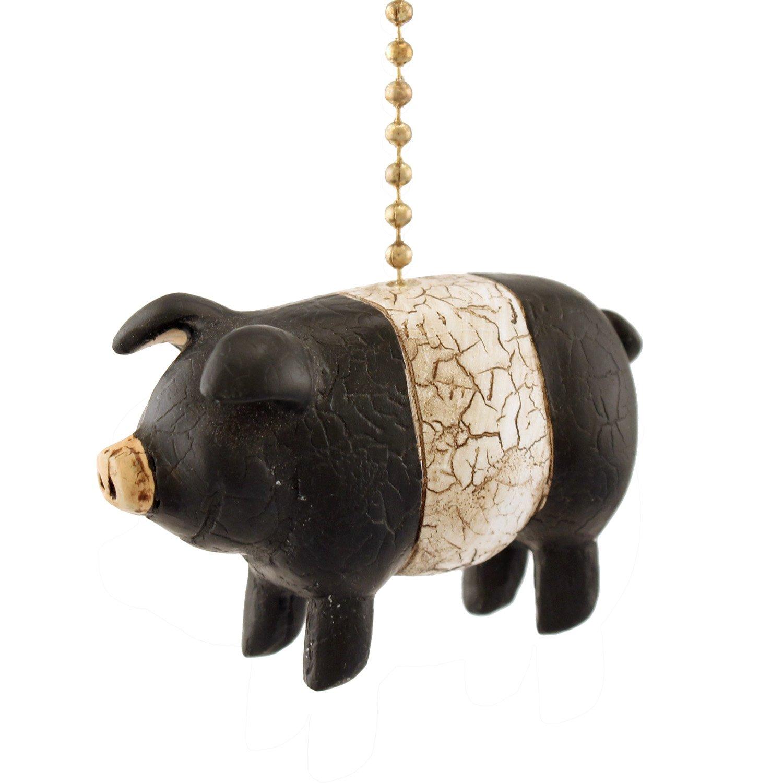 Black White Folk Pig Ceiling Fan Pull or Light Pull Chain Clementine Design