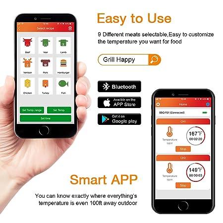 Compra GuanTek - Termómetro digital inalámbrico para carne ...