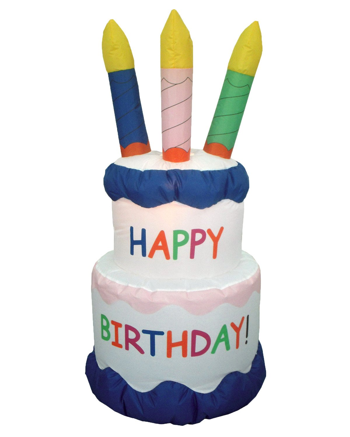 6 Foot Inflatable Happy Birthday Cake with Candles Yard Decoration by BZB Goods