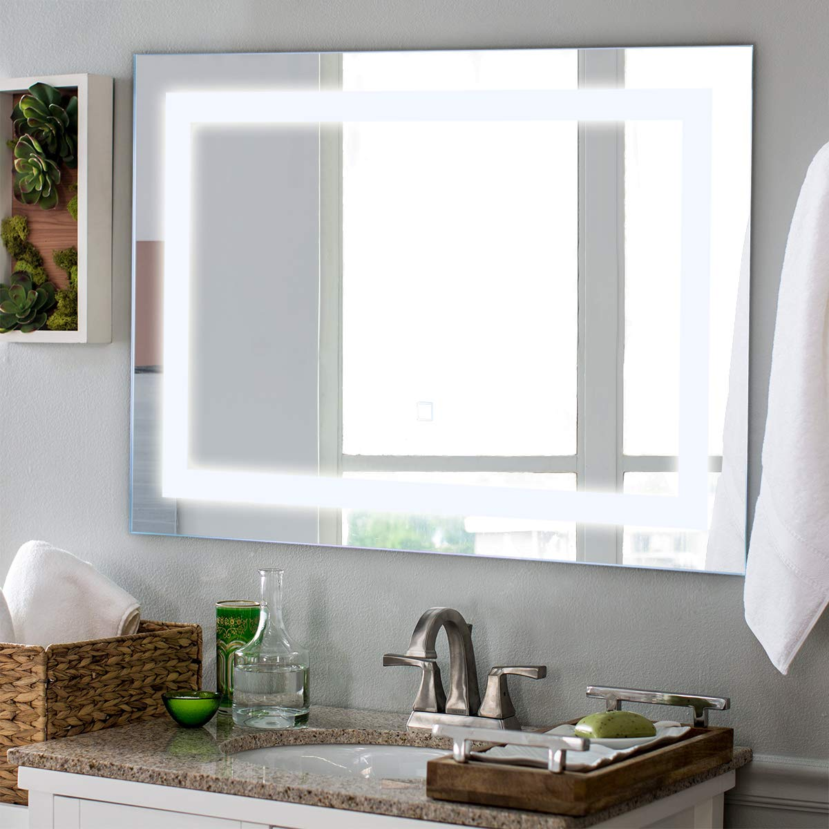 Tangkula Led Bathroom Mirror Wall Mounted Makeup Vanity Mirror With Led Light Illuminated Lightning Bath Hanging Frosted Polished Edge Rectangle Mirror 27 5 X 20 Buy Online In Antigua And Barbuda At Desertcart 71158738