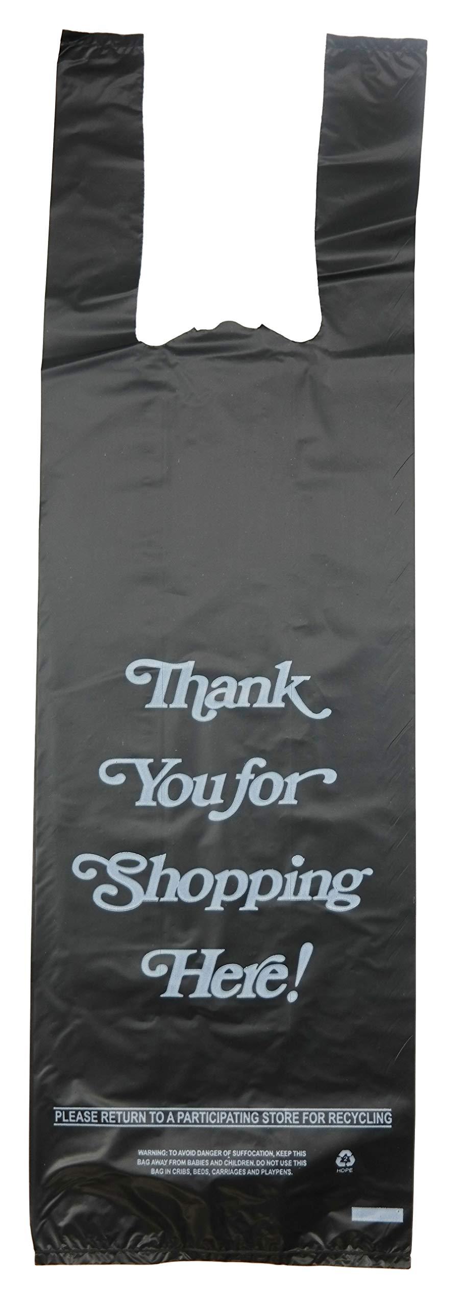 Plastic Bag- 'Thank You' White Print 1 bottle Liquor Black T Shirt Bag 6''x 4''x 20'' 25 mic - 1000 bags/case
