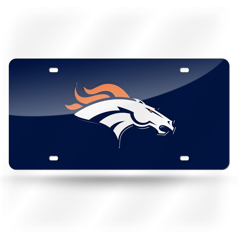 Football Fanatics Denver Broncos Mirrored License Plate,Navy,12x6