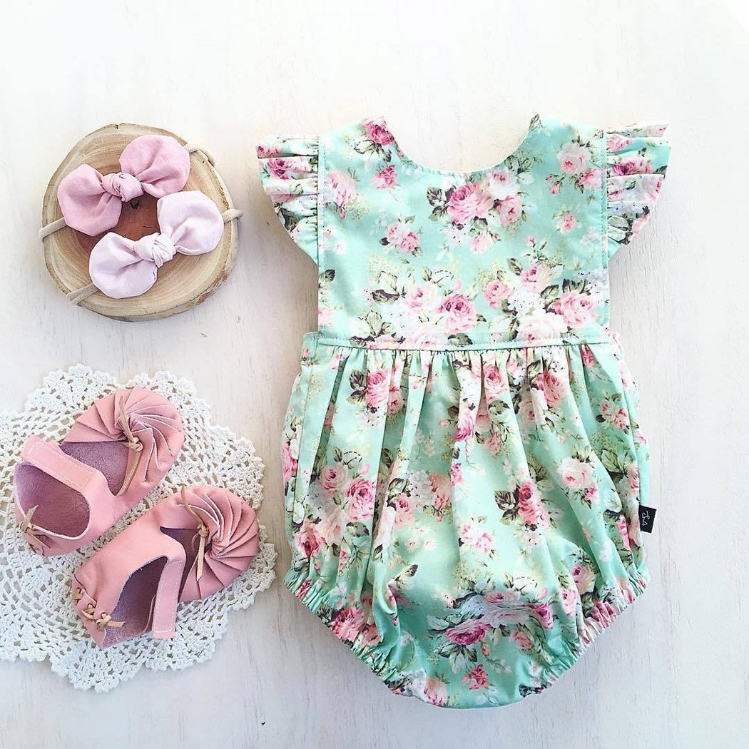 XWB Baby Girl Romper Floral Print Backless Bodysuit Sunsuit Summer Clothes Outfits