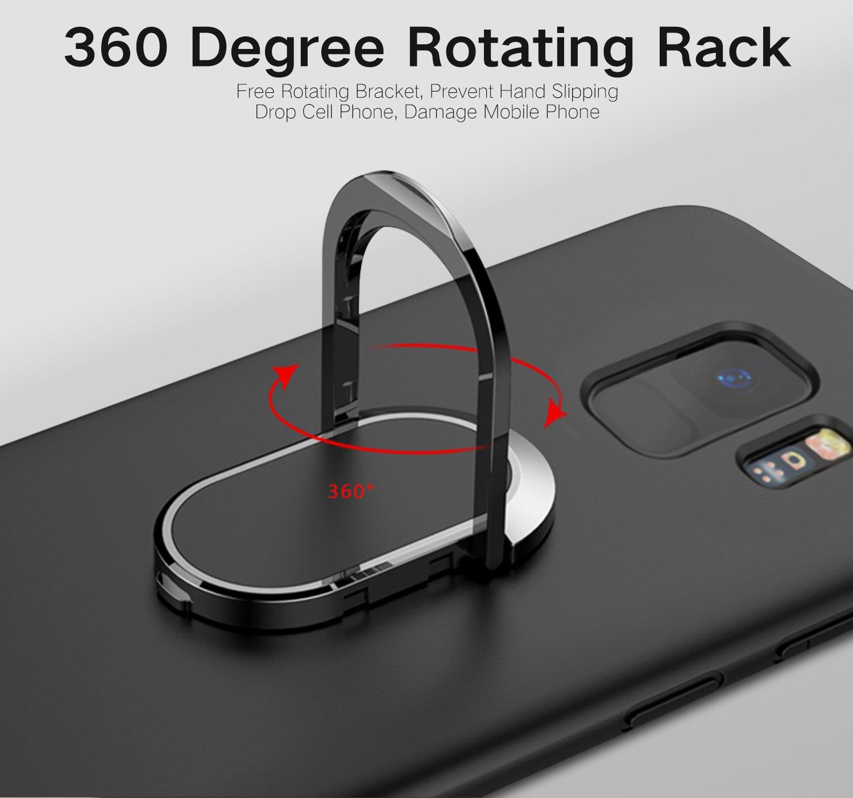 Magn/étique Support Voiture Yobby Coque pour Samsung Galaxy S9 Plus Mat Bleu,/Étui 360 Rotation Bague Doigt Anneau Porte Kickstand Ultra Mince Souple Silicone Antichoc Housse de Protection