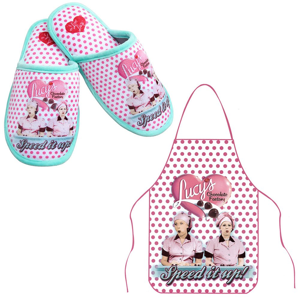 (Set) I Love Lucy Chocolate Factory Polka-dot Slippers & Matching Apron