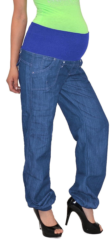 ESRA Schwangerschaftshose Umstandshose Damen Hose für Schwangerschaft in Schwarz und Blau U-J133